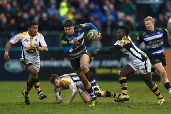 Bath Rugby centre Matt Banahan tries to find some space in the London Wasps' defence