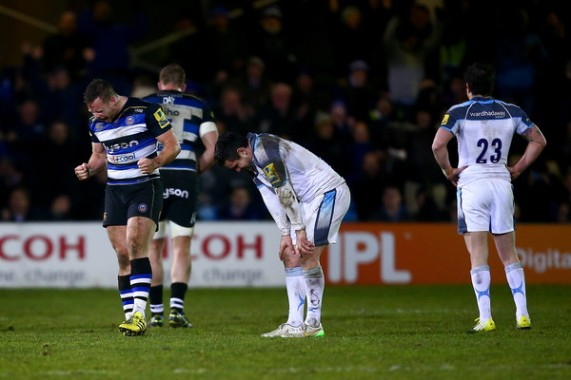 Bath Rugby scrum-half celebrates after Newcastle Falcons win
