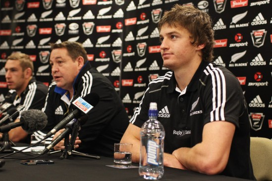 Beauden Barrett faces the media before his All Blacks debut against Ireland in 2012