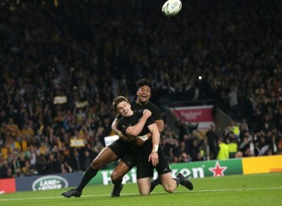 Beauden Barrett scored New Zealand winning try during the 2015 World Cup final against Australia