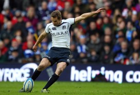 Chris Paterson kicking a penalty against Italy during the Six Nations Championship