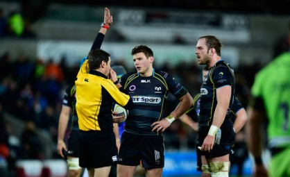 Dan Biggar and Alun-Wyn Jones playing for the Ospreys in Champions Cup against Northampton Saints