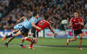 Israel Dagg tries to catch a ball during the Super Rugby final against the Waratahs in 2014
