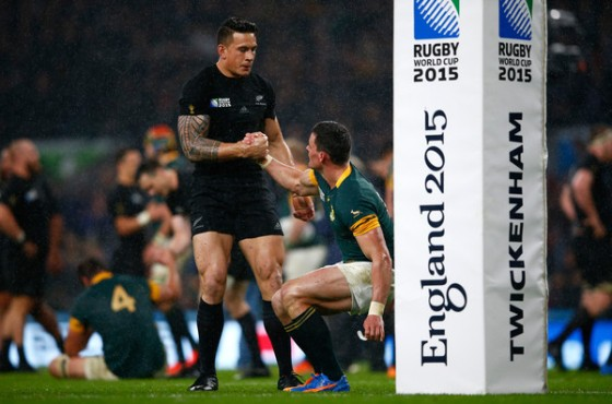 Sonny Bill Williams and Jesse Kriel following the 2015 World Cup semi-final between New Zealand and South Africa