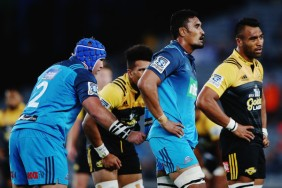 The Blues flanker Jerome Kaino gets ready for a lineout with Hurricanes Victor Vito trying to read it
