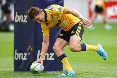 The Hurricanes playmaker Beauden Barrett touches down for a try against the Cheetahs in Super Rugby
