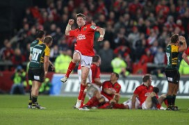 The Munster legend Ronan O'Gara after his winning drop-goal against Northampton Saints in Heineken Cup