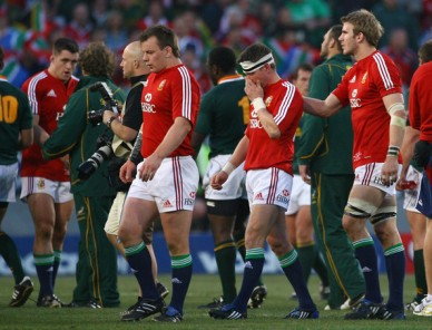 Tom Croft comforts Ronan O'Gara after British & Irish Lions second game against South Africa in 2009