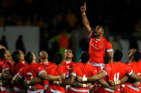 Tonga players perform the Kailao before a Test match against Scotland