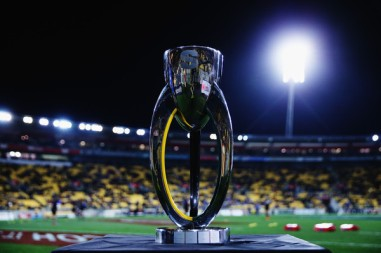 The Super Rugby Trophy before the Super Rugby final in 2015 between the Hurricanes and the Highlanders at Westpac Stadium in Wellington