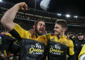 The Hurricanes players Dane Coles and Beauden Barrett celebrate the Super Rugby Title in 2016