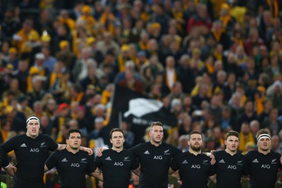 The New Zealand players singing the National Anthem during the Rugby Championship decider against Australia, in Sydney, in August 2015