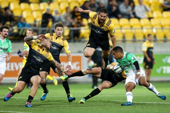 Picture of the 2017 Super Rugby game between the Hurricanes and the Highlanders in Wellington