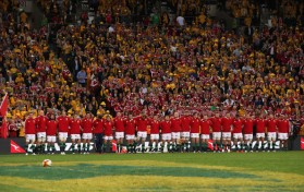 The British & Irish Lions players lining up just before the kick-off during the first game of the series against Australia in 2013