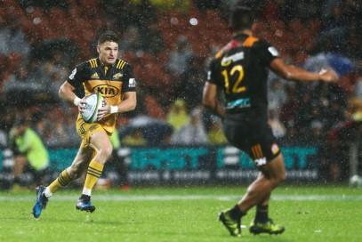 The Hurricanes first-five eighth Beauden BarretT under terrible weather conditions against the Chiefs during Round 3 in the Super Rugby 2017