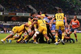 The Hurricanes forwards pack putting a defensive effort against the Western Force in Perth during the Round 15 in Super Rugby in 2017