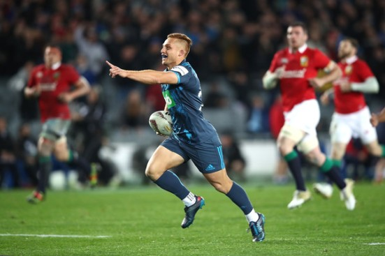 The Blues first-five eighth Ihaia West scored the winning try against the British & Irish Lions in Eden Park, Auckland, 2017