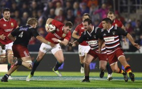 The British & Irish Lions fullback Stuart Hogg playing against the New Zealand Provincial Barbarians at Toll Stadium, Whangarei, in 2017