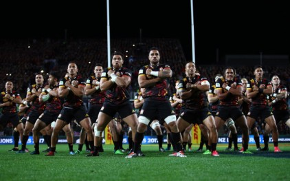 The Chiefs performing their Haka before facing the British & Irish Lions, the Haka that they performed when they won Super Rugby in 2012