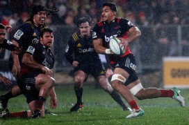 The Crusaders back-rower Pete Samu is running the ball against the Highlanders during their Super Rugby Quarter-Final in Christchurch, in 2017