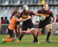 The Stormers back-rower Nizaam Carr is carrying the ball against the Cheetahs during their 2017 Super Rugby game in Bloemfontein