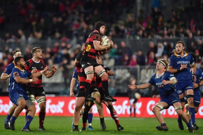 The Canterbury flanker Matt Todd is gathering a ball during the Round 2 of the Mitre 10 Cup 2017 against Otago, in Christchurch