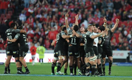 The Crusaders celebrate at the final whistle after winning the Super Rugby against the Lions at Ellis Park in Johannesburg, South Africa, 2017