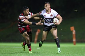 Tevita Li on his way to the try line for North Harbour against the Counties Manukau during the Round 4 of the Mitre 10 Cup 2017