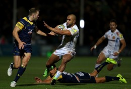 The Exeter Chiefs winger Olly Woodburn finding a way through Worcester Warriors defence in the Aviva Premiership during the 2017-2018 season