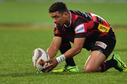 The Canterbury playmaker Richie Mo'unga in his kicking routine against Waikato in the Mitre 10 Cup 2017 while defending the Ranfury Shield