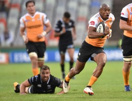 The Cheetahs winger Makazole Mapimpi scored a brace for the Springbok franchise against the Ospreys in Bloemfontein during the 2017-2018 Pro14