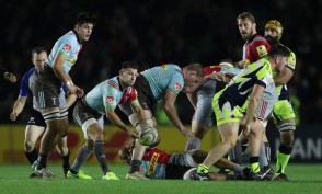 The Harlequins scrum-half Danny Care passing the ball against the Sale Sharks in the Aviva Premiership during the 2017-2018 season
