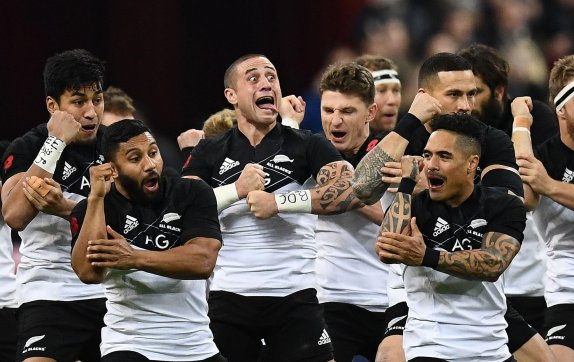 Led by TJ Perenara, the New Zealand players performing the Kapa O Pango against France during the November Internationals in Paris, in 2017