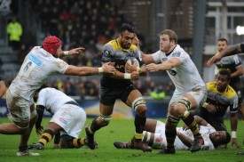 La Rochelle's back-rower Victor Vito carries the ball during the 2017-2018 Champions Cup game against the Wasps at La Rochelle, France