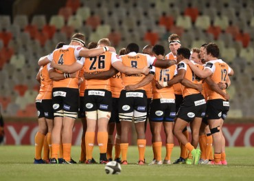 The Cheetahs before their home Pro14 fixture against the Scarlets during the 2017-2018 season at Free State Stadium, in Bloemfontein, South Africa