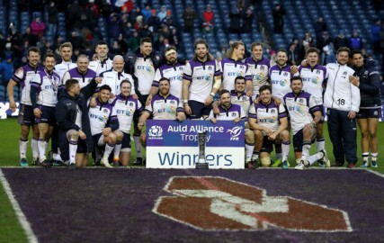 The Scotland players won the Auld Alliance Trophy after their win against France during the 2018 Six Nations Championship at Murrayfield
