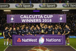 The Scotland players won the Calcutta Cup after their win against England during the 2018 Six Nations at Murrayfield in Edinburgh