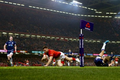 The Wales scrum-half Gareth Davies scored the opening try of the 2018 Six Nations Championship against Scotland in Cardiff