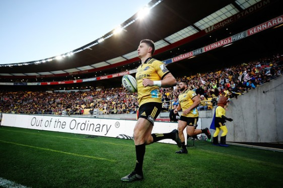 Beauden Barrett and Ben May leading the Hurricanes for their respective 100th Super Rugby game against the Crusaders, in Wellington, in 2018