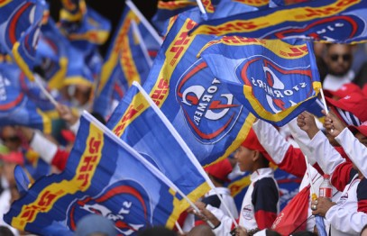 The crowd in Newlands is waving the Stormers' flag during their home Super Rugby fixture against the Blues during the 2018 season in Cape Town