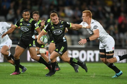 The Hurricanes playmaker Ihaia West playing against the Sharks during the 2018 Super Rugby in McLean Park, Napier