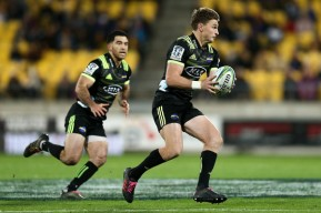 Beauden Barrett running the ball for the Hurricanes with Nehe Milner-Skudder against the Reds during the Super Rugby in 2018, in Wellington