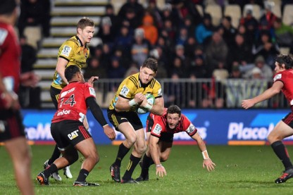 The Hurricanes playmaker Beauden Barrett playing against the Crusaders during the Super Rugby in 2018 in Christchurch, New Zealand