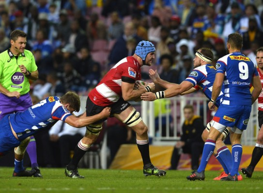 The Lions forward Lourens Erasmus carrying the ball against the Stormers at Newlands, in Cape Town, during the Super Rugby, in 2018
