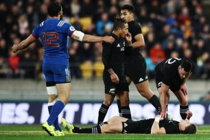 Beauden Barrett landed on his head after a collision with Benjamin Fall against France during the 2018 June Internationals, at Westpac Stadium