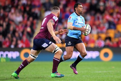 The Waratahs playmaker Kurtley Beale playing against the Queensland Reds in Suncorp Stadium, Brisbane, during the Super Rugby 2018