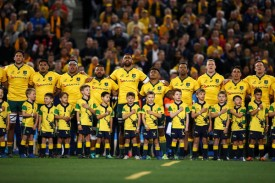 The Australian players singing their national anthem before the 2018 Rugby Championship game against New Zealand in Sydney