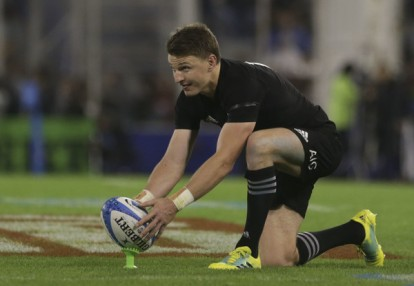 Beauden Barrett attempting a conversion for New Zealand against Argentina during the 2018 Rugby Championship game in Buenos Aires