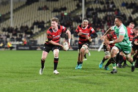 The Canterbury scrum-half Mitchell Drummond running with the ball against Manawatu during the 2018 Mitre 10 Cup game in Christchurch