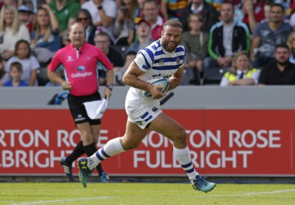 The Wales centre Jamie Roberts scoring a try for Bath Rugby against the Harlequins in the Gallagher Premiership in 2018 at The Twickenham Stoop, in London, England